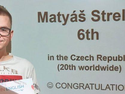 Matyáš Strelec převzal diplom za úspěch v soutěži Best in English